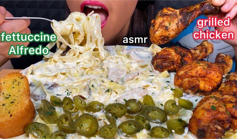 ASMR FETTUCCINE ALFREDO, SPICY GRILLED CHICKEN, PICKLED JALAPENO & GARLIC BREAD 먹방 Eating Sounds