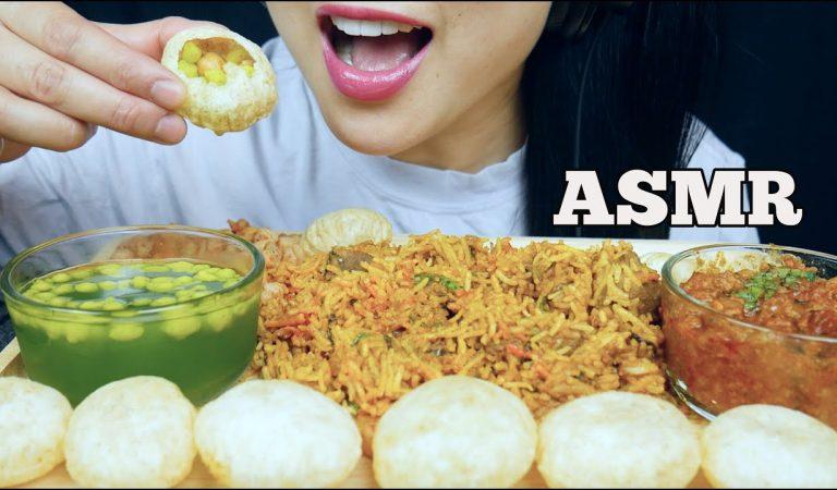 ASMR INDIAN FOOD LAMB BIRYANI + GOLGAPPA + KEEMA CURRY + SWEETS (EATING SOUND) NO TALKING   SAS-ASMR