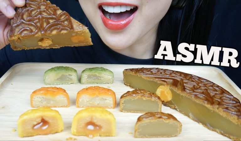 ASMR MOON CAKE *CHEESE CUSTARD + SALTED EGG YOLK + LOTUS SEEDS (EATING SOUNDS) NO TALKING | SAS-ASMR