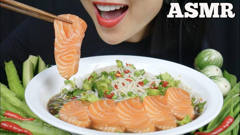 Asmr Spicy Thai Noodle Salad Salmon Sashimi Eating Sounds No Talking Sas Asmr Asmrhd To make ends meet in canada her most popular videos are 'asmr honeycomb (extremely sticky satisfying eating sounds) no talking' with a whopping 26 million views and 'asmr salmon & octopus. asmr spicy thai noodle salad salmon