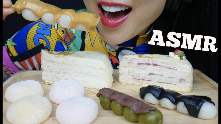 Asmr Dessert Platter Crepe Cake Mochi Dango Eating Sounds No Talking Sas Asmr Asmrhd Combine flour, sugar and water. asmrhd
