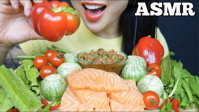 Asmr Spicy Thai Dipping Sauce Salmon Sashimi Fresh Veggies Eating Sounds No Talking Sas Asmr Asmrhd Asmr salmon & octopus sashimi (raw savage extreme soft chewy eating sounds) no t. asmrhd