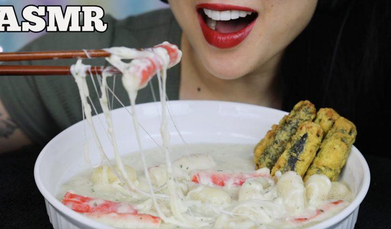 ASMR CREAMY MINI CHEESY RICE CAKE + FRIED SEAWEED ROLL (EATING SOUNDS) NO TALKING | SAS-ASMR