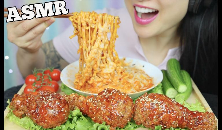 ASMR CHEESY NOODLES + KOREAN FRIED CHICKEN (CRUNCHY + SOFT EATING SOUNDS) NO TALKING | SAS-ASMR