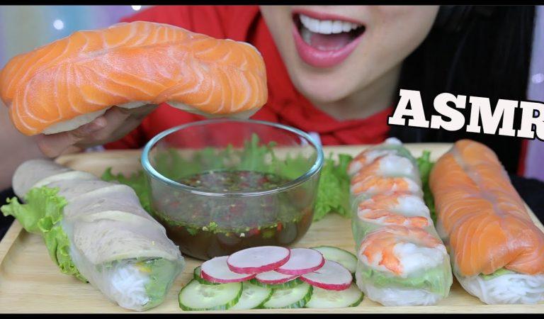 ASMR SALMON SASHIMI + JUMBO SHRIMP + VIETNAMESE HAM SALAD ROLL (EATING SOUNDS) NO TALKING | SAS-ASMR