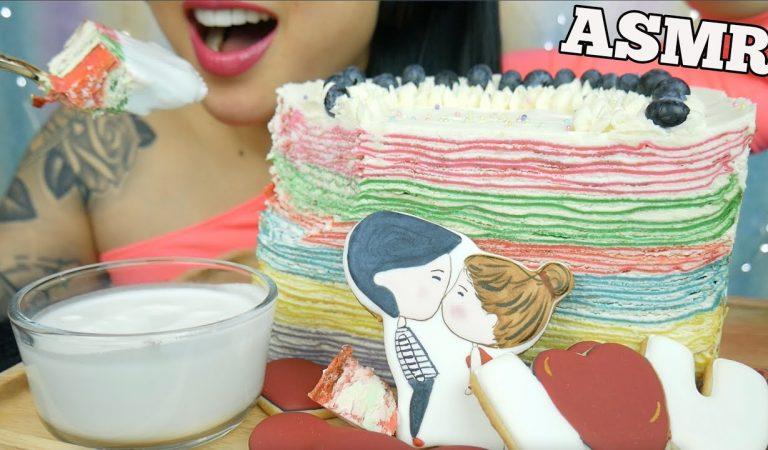 ASMR RAINBOW CREPE CAKE + SUGAR COOKIES (SOFT EATING SOUNDS) NO TALKING | SAS-ASMR