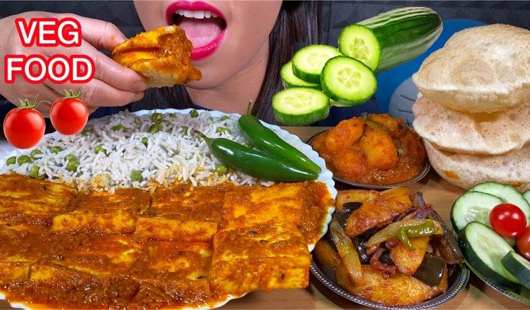 ASMR VEG FOOD *PANEER KI SABZI, ALOO BAINGAN, DUM ALOO, MATAR PULAO, PURI MASSIVE Eating Sounds