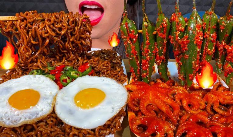 ASMR SPICY SEAFOOD BLACK BEAN NOODLES, HOT CHILI KIMCHI, EGGS MUKBANG 먹방 MASSIVE Eating Sounds