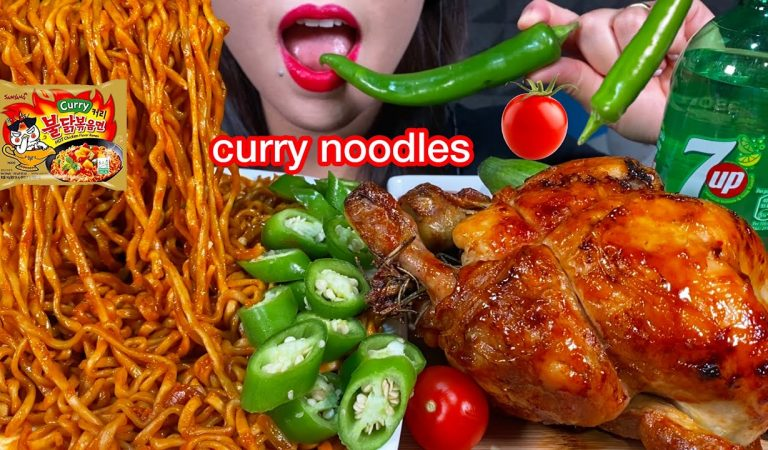 ASMR CURRY FIRE NOODLES, WHOLE ROAST CHICKEN, CHILI 먹방 MUKBANG MASSIVE Eating sounds