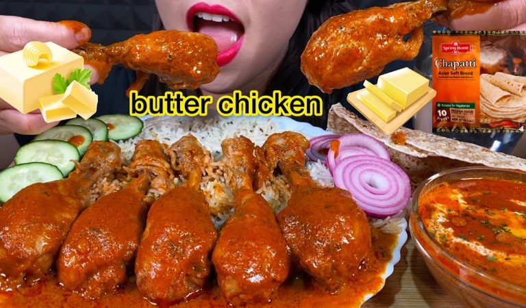 ASMR SPICY BUTTER CHICKEN, JEERA RICE, CHAPATI, ONION 먹방 MUKBANG MASSIVE Eating sounds