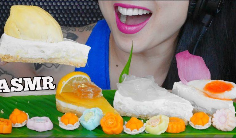 ASMR THAI CAKES *DURIAN + HONEYCOMB + COCONUT + SWEET EGG (EATING SOUNDS) LIGHT WHISPERS | SAS-ASMR