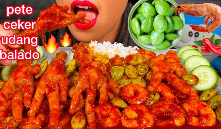 MAKAN PETE CEKER UDANG BALADO *SPICY CHICKEN FEET & SHRIMP + BITTER BEANS MASSIVE Eating Sounds